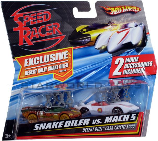 Hot Wheels Speed Racer Desert Rally Snake Oiler vs. Mach 5 2 PACK NEW