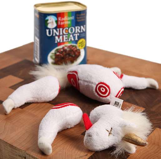 Stuff Gag http://www.ebay.com/itm/Radiant-Farms-CANNED-UNICORN-MEAT-Great-gag-gift-plush-stuffed-parts-can-joke-/140854602934